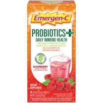 Emergen-C Probiotics+ Vitamin C 250mg (14 Count, Raspberry Flavor) Daily Immune Health Dietary Supplement Drink Mix, 0.20 Ounce Powder Packets
