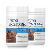 Pure Protein Powder, Natural Whey Protein, Low Sugar, Gluten Free, Rich Chocolate, 1.6 lbs, 2 Pack