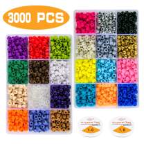 Greentime Plastic Pony Beads, 9mm Pony Beads Rainbow Opaque Beads Small Loose Spacer Beads for Friendship Bracelet Jewelry Necklace Making Hair Braids and DIY Crafts(24colors 3000pcs)