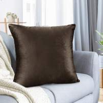 "Nestl Bedding Throw Pillow Cover 22"" x 22"" Soft Square Decorative Throw Pillow Covers Cozy Velvet Cushion Case for Sofa Couch Bedroom - Chocolate Brown"