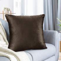 """Nestl Bedding Throw Pillow Cover 18"""" x 18"""" Soft Square Decorative Throw Pillow Covers Cozy Velvet Cushion Case for Sofa Couch Bedroom - Chocolate Brown"""