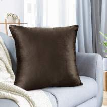 "Nestl Bedding Throw Pillow Cover 18"" x 18"" Soft Square Decorative Throw Pillow Covers Cozy Velvet Cushion Case for Sofa Couch Bedroom - Chocolate Brown"