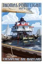 Lantern Press Chesapeake Bay, Maryland, Thomas Point Light (12x18 Aluminum Wall Sign, Wall Decor Ready to Hang)