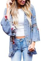 EIFFTER Women Boho Bell Sleeve Hollow Out Lace Floral Print Short Cardigan Casual Fall Kimono