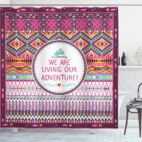 """Ambesonne Ethnic Shower Curtain, Striped Geometrical Design with a Words We are Living Our Adventure Print, Cloth Fabric Bathroom Decor Set with Hooks, 75"""" Long, Purple Pink"""