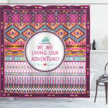 "Ambesonne Ethnic Shower Curtain, Striped Geometrical Design with a Words We are Living Our Adventure Print, Cloth Fabric Bathroom Decor Set with Hooks, 75"" Long, Purple Pink"