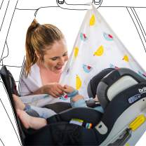 Car Window Shade for Baby by Musluv - UPF 50+ Multipurpose Cotton Nursing Cover, Breastfeeding Swaddle Blanket, Baby Car Seat or Stroller Muslin Canopy - Fly Away Birdy Multi