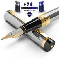 DRYDEN Fountain Pen with Ink Refill Converter - Smooth & Elegant, Perfect Gift Set for Calligraphy Writing, Signature, Artist and Professionals - Metallic Silver [12 Black & 12 Blue Cartridges]