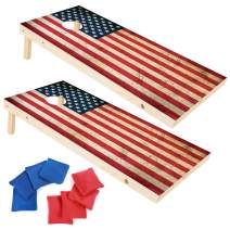 EXERCISE N PLAY 2 x 4 Ft Regulation Size Wood Corn Hole Board Game, American Flag Cornhole Boards, Includes 8 Cornhole Bean Bags Set