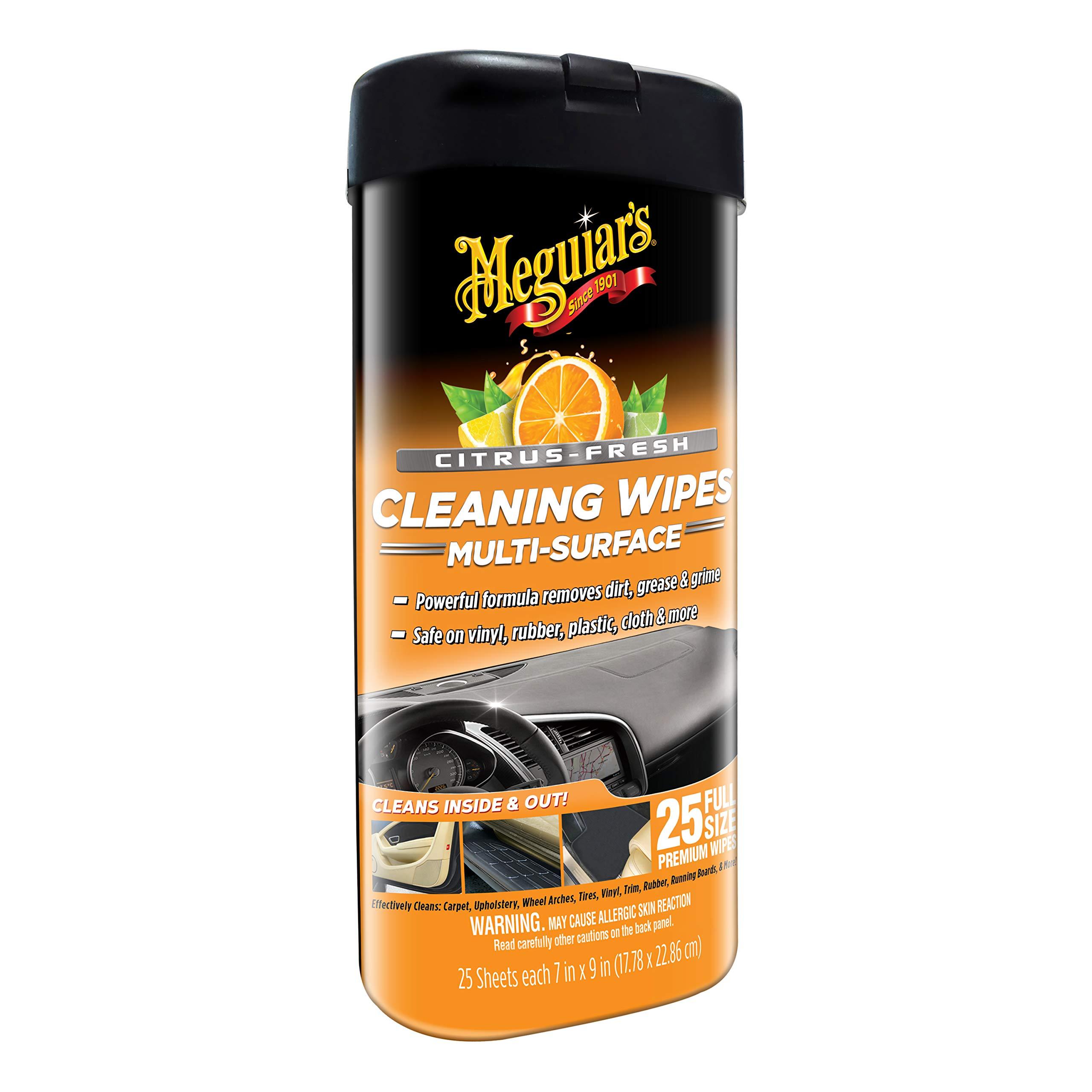 MEGUIAR'S G190600 Citrus-Fresh Cleaning Wipes, 25 Count