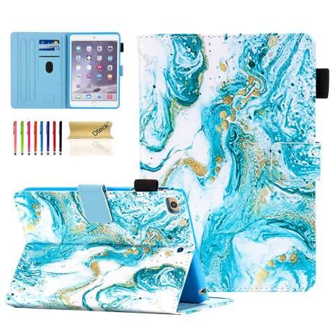 iPad Mini Case, Dteck Slim Fit Smart Premium PU Leather Multiple Viewing Folio Stand Wallet Cover with Auto Wake/Sleep for Apple iPad Mini 2/Mini 3/Mini 4/Mini 5, Marble Art