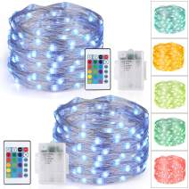 Speclux 2Pack LED RGB String Lights Battery Powered with Remote Control, 16 Colors Changing Fairy Lights, 4 Lighting Modes & Timer for Indoor Outdoor Illumination Decoration, Silver Wire