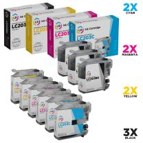 LD Compatible Ink Cartridge Replacement for Brother LC203 High Yield (3 Black, 2 Cyan, 2 Magenta, 2 Yellow, 9-Pack)