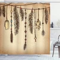 """Ambesonne Tribal Shower Curtain, Bohemian Hair Accessories with Bird Feathers Beads on String Sketch Digital Print, Cloth Fabric Bathroom Decor Set with Hooks, 84"""" Long Extra, Camel Brown"""