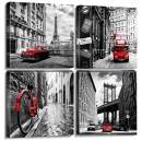 Sunfrower - Cityscape Wall Art White and Black Nostalgic City Canvas Print with Red Classic Cars Paintings Modern HD Artwork Kitchen bathroom poster Ready to Hang for Home Office Decor Pictures 4Panel