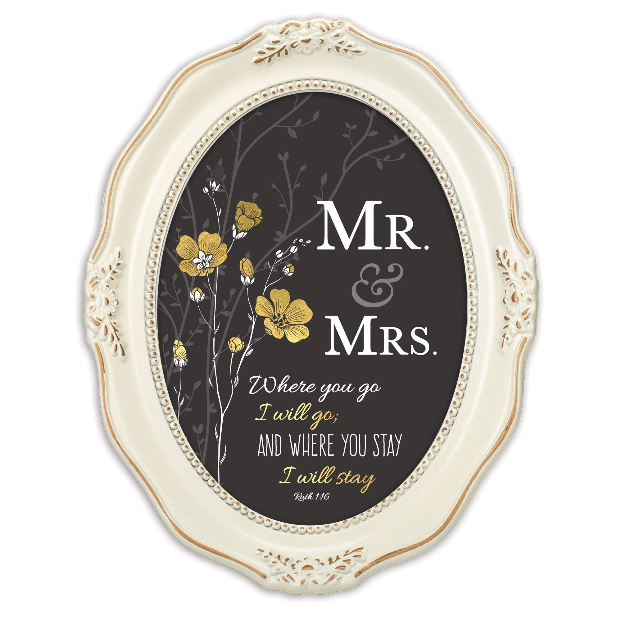 Cottage Garden Mr. & Mrs. You Stay Inspirational Distressed Ivory Wavy 5 x 7 Oval Table and Wall Photo Frame