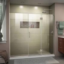 DreamLine Unidoor-X 64-64 1/2 in. W x 72 in. H Frameless Hinged Shower Door in Brushed Nickel, D3261472R-04