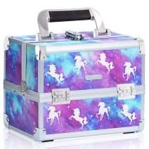 Joligrace Makeup Train Case for Girls Cosmetic Box - 2 Trays Key Lock Makeup Box Jewelry Storage Organizer with Mirror (Unicorn)