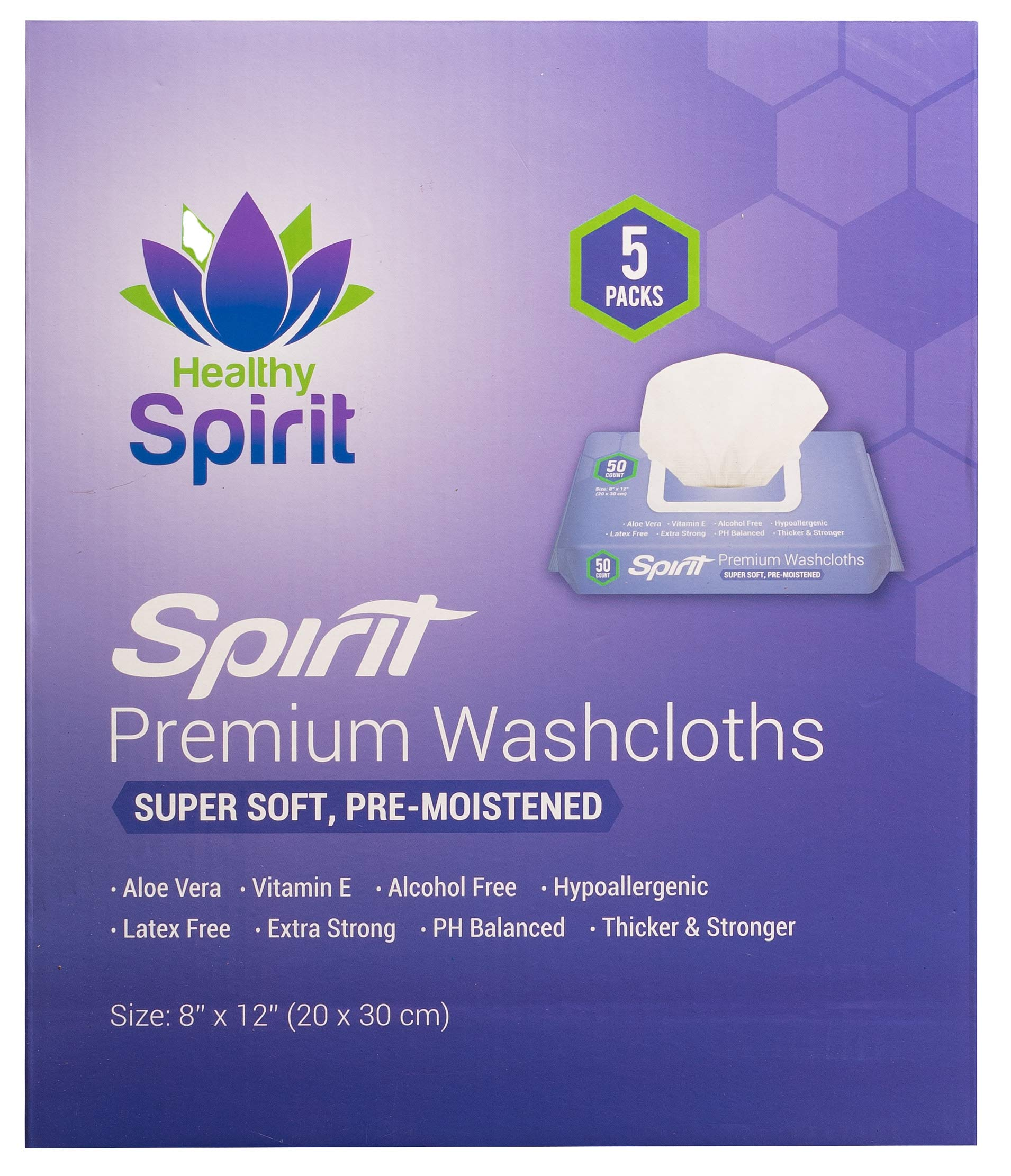 """Healthy Spirit Disposable Washcloths 250 Count - Adult Wipes Extra Large, Adult Wipes for Incontinence & Cleansing, 8""""x12"""", 250 Count, White"""