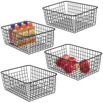 Wire Baskets for Storage, iSPECLE Metal Wire Baskets Organizing Bins Storage Baskets with Handles for Kitchen Bedroom Cabinets Pantry Bathroom Laundry Room Closet Garage - 4 Pack