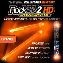 ROCKSTIX 2 HD ORANGE, BRIGHT LED LIGHT UP DRUMSTICKS, with fade effect, Set your gig on fire! (ORANGE ROCKSTIX)