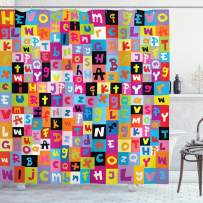 """Ambesonne Abstract Shower Curtain, Colored Alphabet Letters Pattern Education School Puzzle Children Graphic Print, Cloth Fabric Bathroom Decor Set with Hooks, 75"""" Long, Rainbow Colors"""