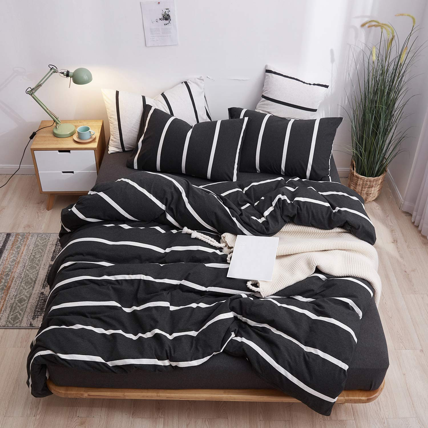 LIFETOWN Jersey Knit Cotton Duvet Cover Twin, 1 Duvet Cover and 2 Pillowcases, Striped Duvet Cover Set, Extremely Soft and Breathable (Twin/Twin XL, Black/White Stripes)