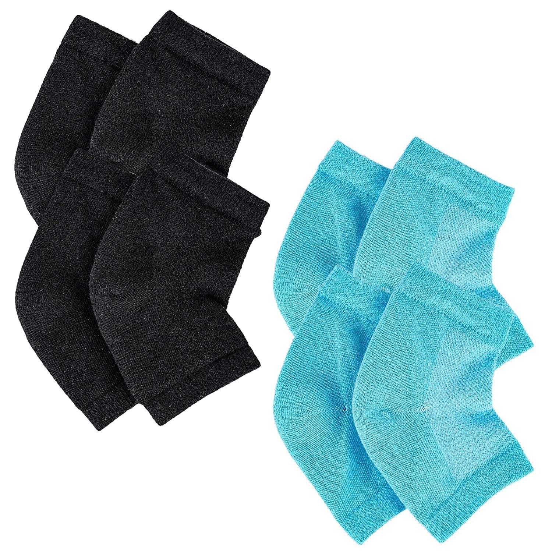 STÙNICK Moisturizing Heel Socks Overnight Cracked Heels While You Sleep 4, 2 Black Pairs and 2 Blue Pairs