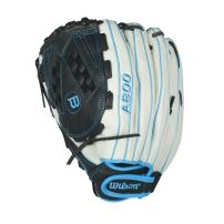 "Wilson Aura Game Ready Fastpitch Softball Gloves, Ivory/Electric Blue, 12.5"", Left Hand Throw"