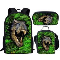 chaqlin Kids School Backpack Cool Children Bookbag Lunch Bag Pencil Bag Dinosaur Print School Bag Set Gifts