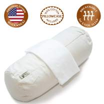 """ComfyComfy Round Buckwheat Pillow for Side Sleeper Neck Support, Large Size (17"""" x 7""""), USA Grown Buckwheat Hulls, Durable Cotton Twill, and Custom Percale Cotton Pillowcase"""