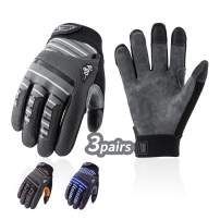 Vgo 3Pairs Deer Split Leather Men's Work Gloves, Lycra Glove Back, Touchscreen Compatible Thumb, Index & Middle Fingers, Velcro Closure (Size M, Grey&Brown&Blue, DB9705)