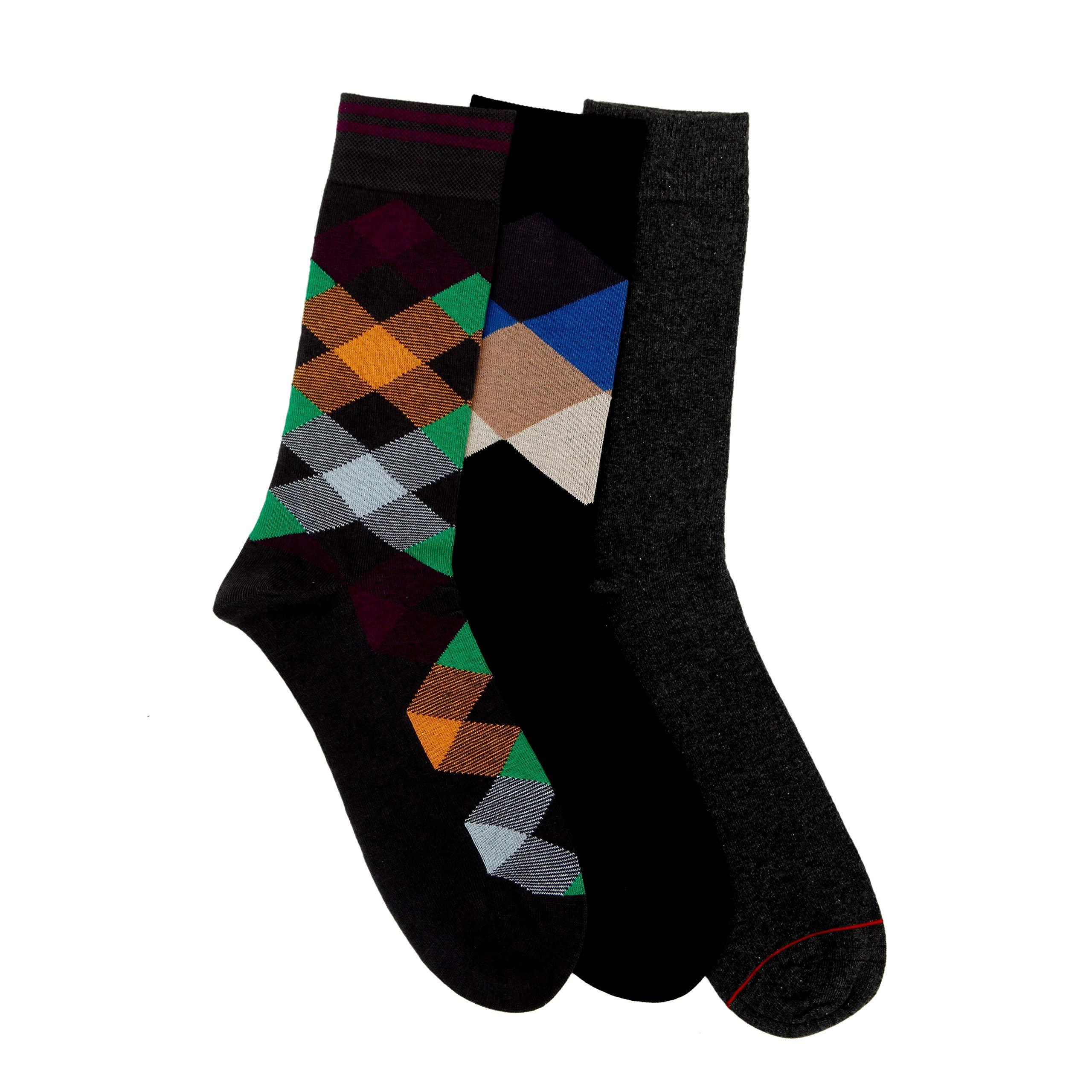 Soxytoes Men's Socks - Free Size, Corporate Novelty Calf Socks Black & Multicolor for Men, Pack of 3 (Storm)