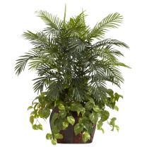 Nearly Natural 6633 Double Areca with Vase and Pothos Decorative Silk Plant, 3.5-Feet, Green