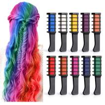BALHVIT Hair Color Chalk Comb Set, [10 Bright Colors] Washable Hair Chalk for Girls Gifts, Popular Chalks on Birthday Cosplay Halloween Party, Non-Toxic Temporary Hair Chalk Pens Safe for Kids, Teen
