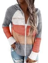 Womens Drawstring Sexy Color Block Hooded Sweaters Fashion Casual Long Sleeve Drawstring Sweatshirts