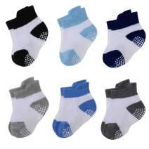 Baby Boys Girls Grip Socks Little Kids Non-Slip Infants And Toddler Ankle Slippers Socks 6 Pairs