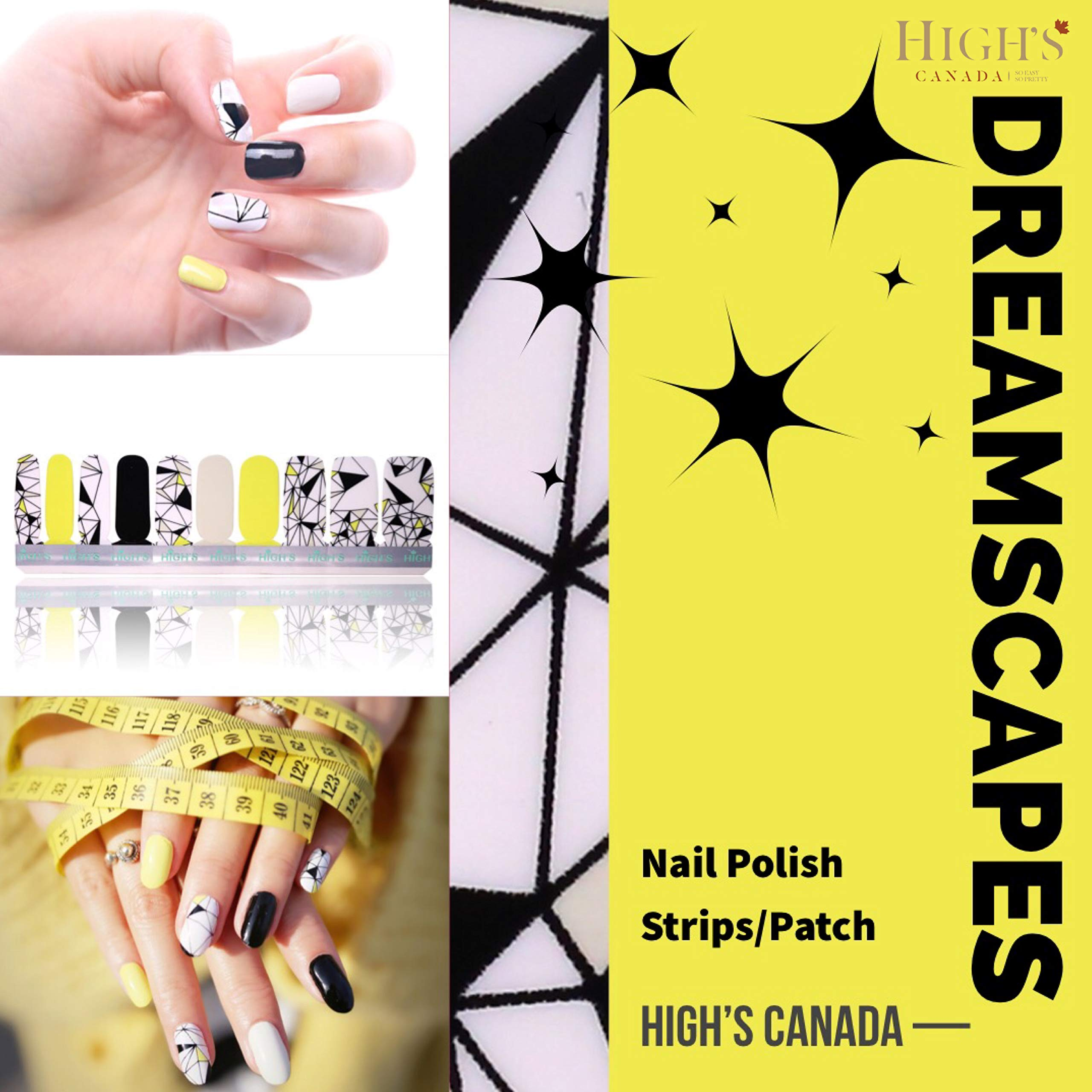 HIGH'S EXTRE Adhesion 20pcs Nail Art Transfer Decals Sticker Design Series The Cocktail Collection Manicure DIY Nail Polish Strips Wraps for Wedding,Party,Shopping,Travelling (Dreamscapes)