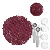 Red Sealing Wax Beads, Yoption 300 Pieces Octagon Wax Seal Beads Kit with 2 Melting Spoon and 4 Candles for Seal Stamp (Sauce red)