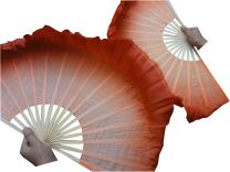 "Winged Sirenny 1pair (1R+1L=2PCS) Chinese Short Silk Dance Fan, 30cm (12"") Bamboo+10cm (4"") Half Circle Silk Over"
