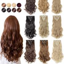 """[PROMO] 17"""" Long Straight Curly Wavy Full Head Clip in Hair Extension 8 Pcs 18 Clips Real Thick Heat Resistance Synthetic Hairpiece for Women Girls (Dark Blonde Mix Bleach Blonde)"""