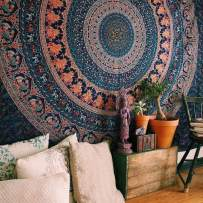 Bohemian Mandala Tapestry - Colorful Coral Hippie Elephant Tapestries Boho Dorm Decor Psychedelic Wall Hanging Home Decorative Twin Size Bedding - Navy Blue - 84 x 54 in