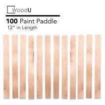 "Wooden Paint Stir Sticks 12"" Bulk Pack 100pc, DIY Paint Paddles for Mixing Paint and Other Liquids"