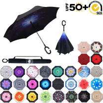 ABCCANOPY Inverted Umbrella,Double Layer Reverse Rain&Wind Teflon Repellent Umbrella for Car and Outdoor Use, Windproof UPF 50+ Big Straight Umbrella with C-Shaped Handle,blue star