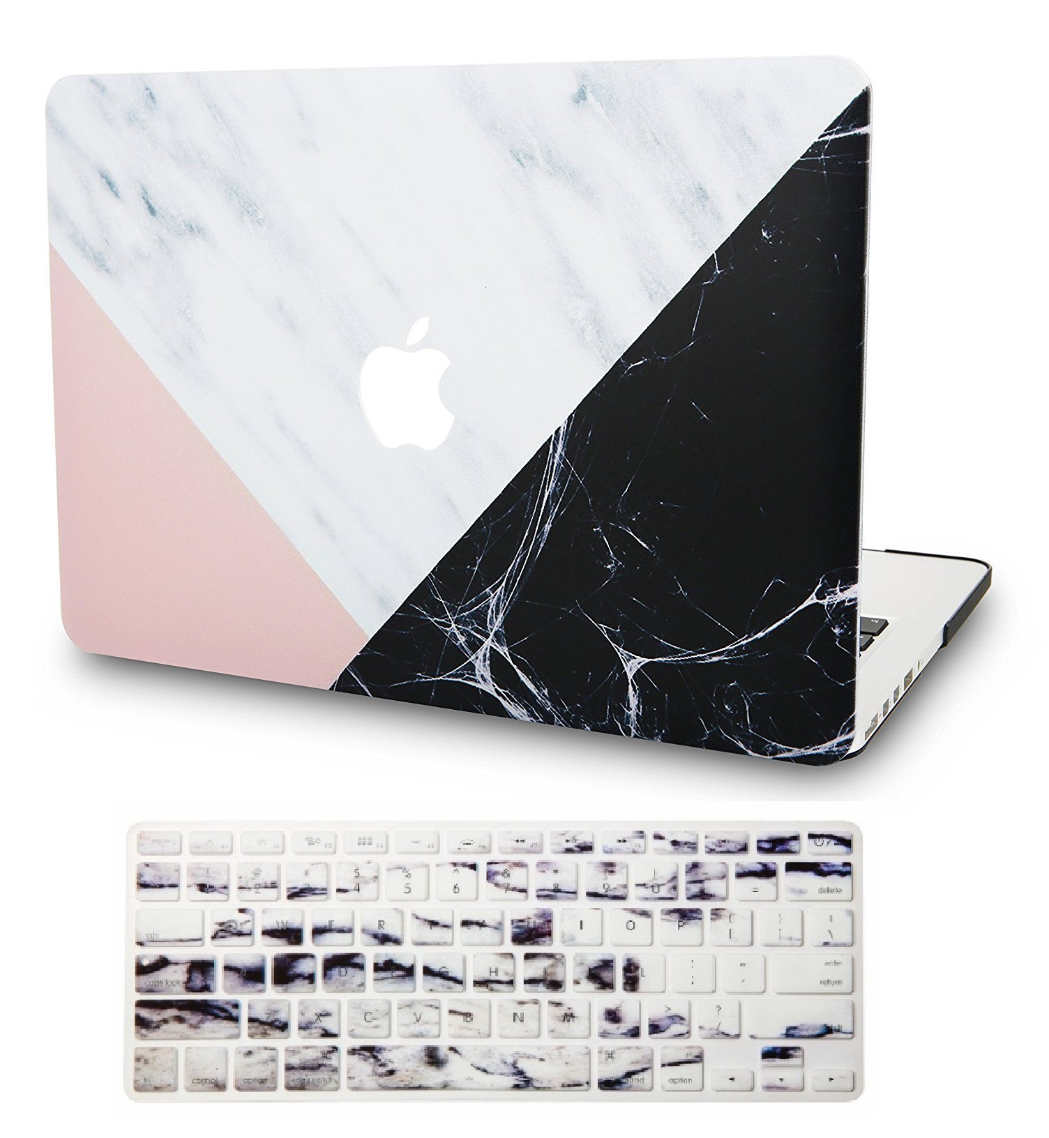 """KECC Laptop Case for Old MacBook Pro 13"""" (CD Drive) w/Keyboard Cover Plastic Hard Shell Cover A1278 2 in 1 Bundle (White Marble Pink Black)"""