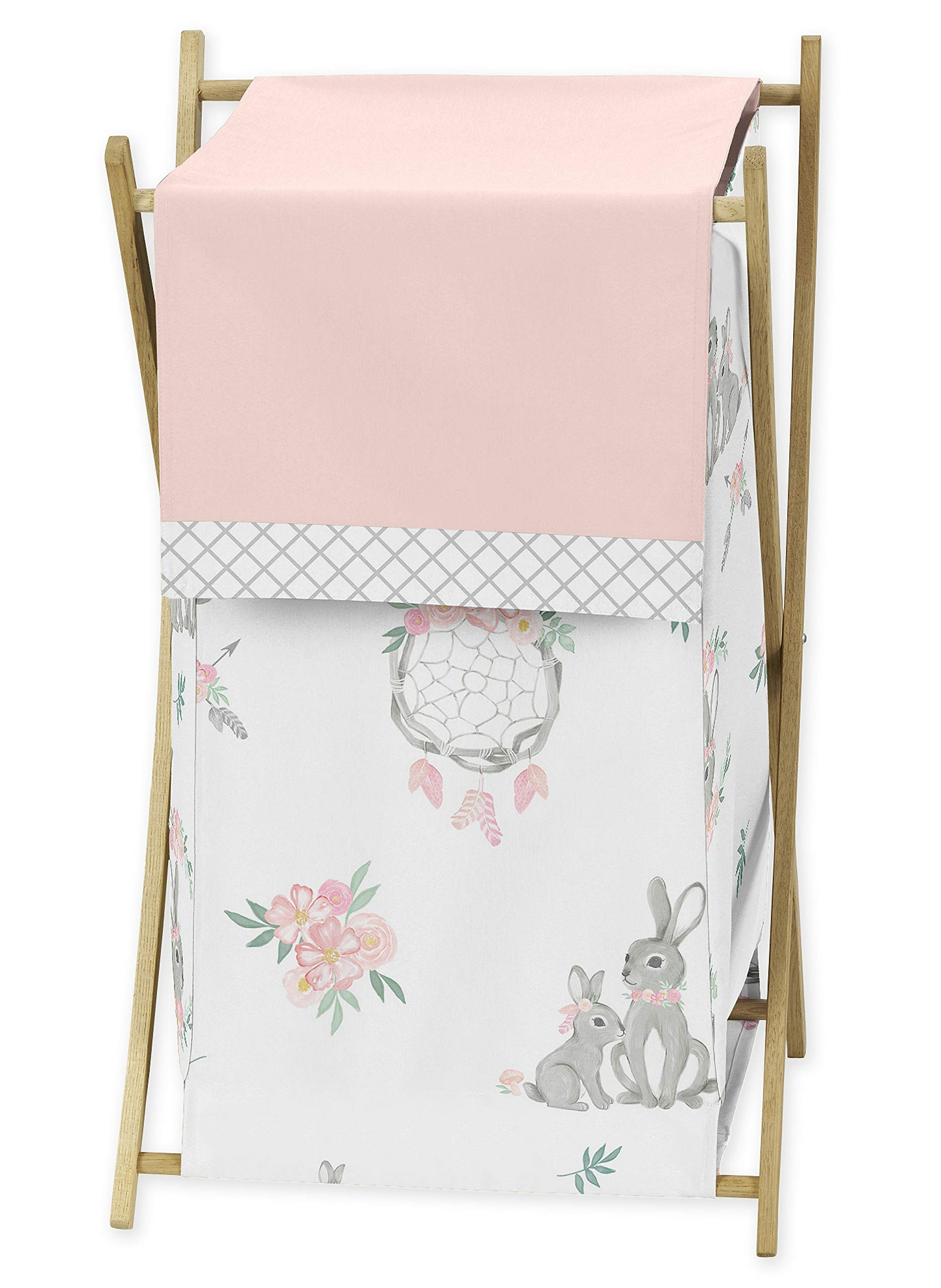 Sweet Jojo Designs Blush Pink and Grey Woodland Boho Dream Catcher Arrow Baby Kid Clothes Laundry Hamper for Gray Bunny Floral Collection - Watercolor Rose Flower