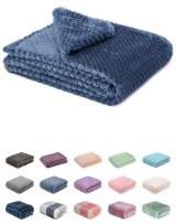 Fuzzy Blanket or Fluffy Blanket for Baby Girl or boy, Soft Warm Cozy Coral Fleece Toddler, Infant or Newborn Receiving Blanket for Crib, Stroller, Travel, Decorative (28Wx40L, XS-Smoked Blue)