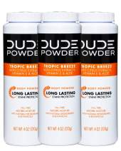 DUDE Body Powder, Tropic Breeze 4 Ounce (3 Bottle Pack) Natural Deodorizers With Citrus Extracts & Aloe, Talc Free Formula, Corn-Starch Based Daily Post-Shower Deodorizing Powder for Men