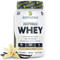 Bodylogix Natural Grass-Fed Whey Protein Powder, NSF Certified, Vanilla Bean, 2 lb