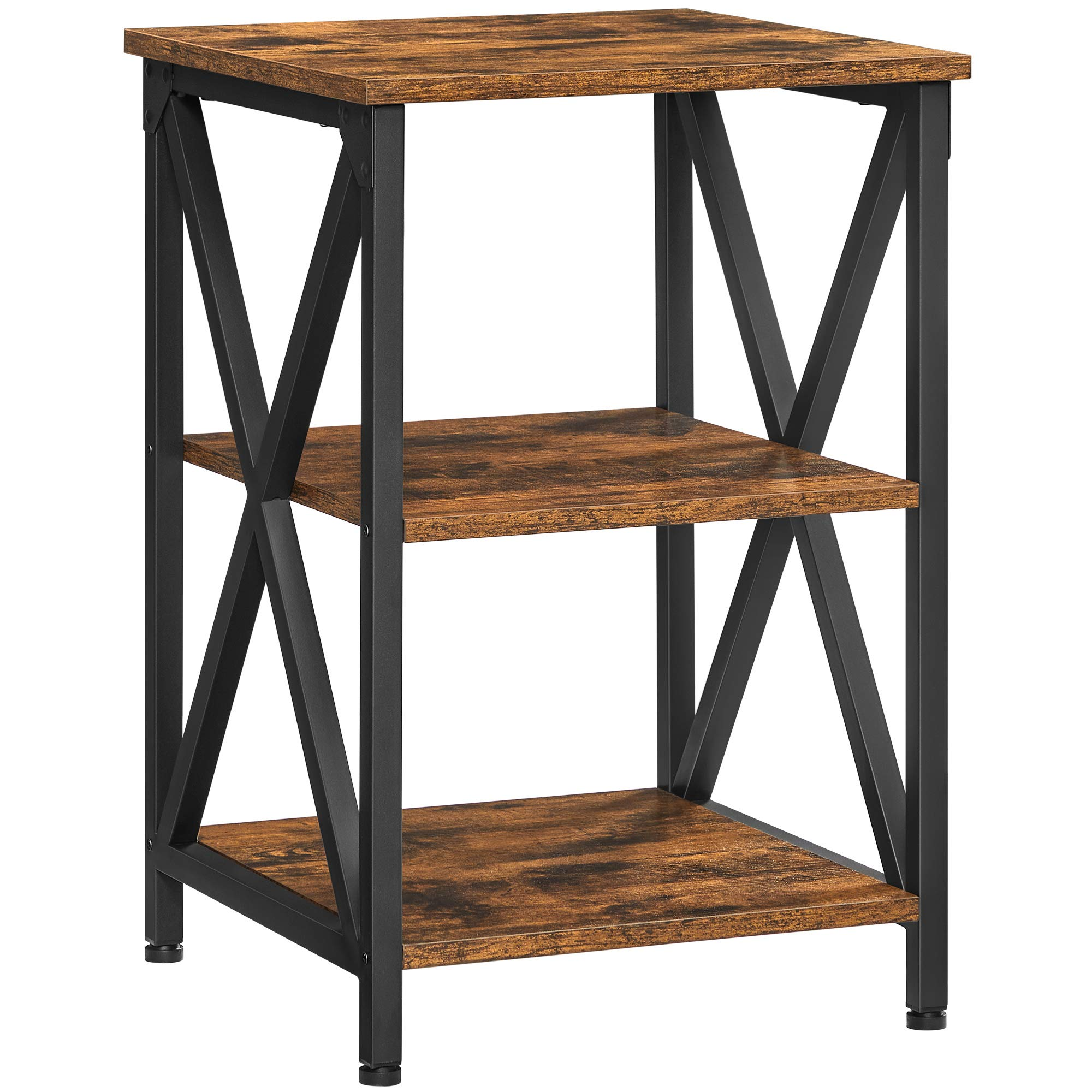 VASAGLE Side Table Farmhouse, End Table X-Shaped Design, Nightstand with Steel Frame and 2 Storage Shelves, Farmhouse Industrial Style, Rustic Brown and Black ULET278B01V1